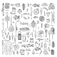Big Set With Cute Hand Drawn Fishing Icons. Vector Catching Fish Equipment Elements. Doodle Illustration