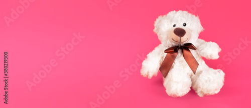 Teddy bear furry toy for kids isolated on pink background. Cheerful posotive romantic bear.