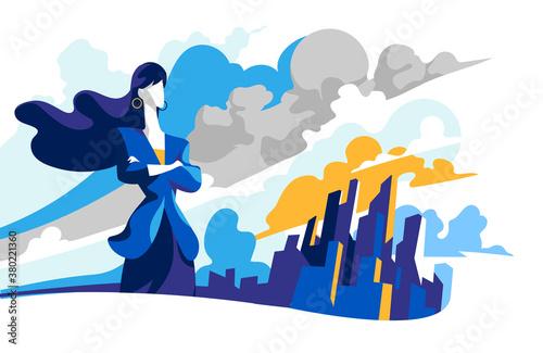 Fotomural Una business woman che guarda verso il futuro per nuove opportunità