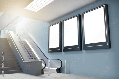Fotografie, Obraz Subway corridor billboard - 3d rendering