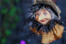 A Head Of Flying Aged Witch Wi...