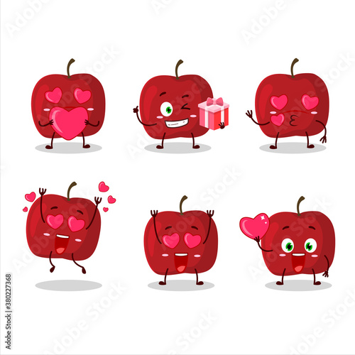 Photo Red apple cartoon character with love cute emoticon