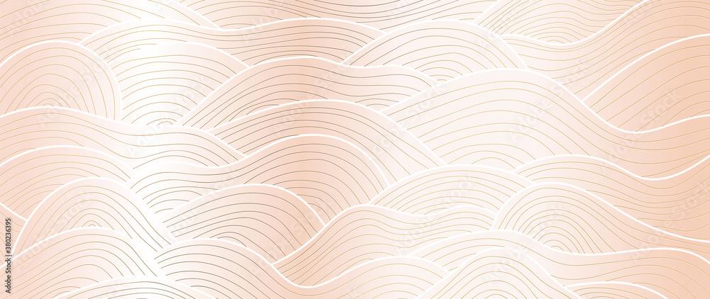 Luxury rose gold line art wallpaper. Wall art background design for home decor, wallpaper, print, cover, website, packaging design. vector illustration.