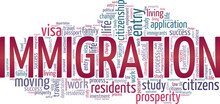 Immigration Vector Illustration Word Cloud Isolated On A White Background.