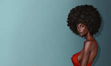 Beautiful Black Woman Young With Afro Hairstyle In A Red Dress With Large Breasts. Illustration Of A Raster Raster Art Realistic On A Blue Background.