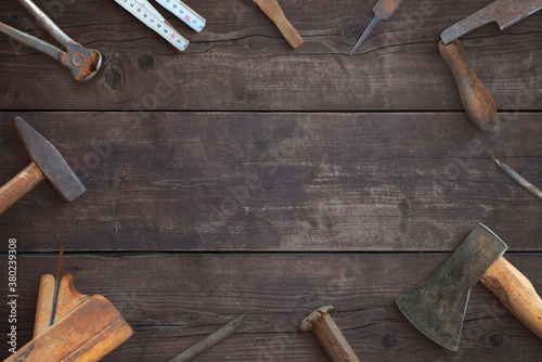Photo Tools on wooden surface composition
