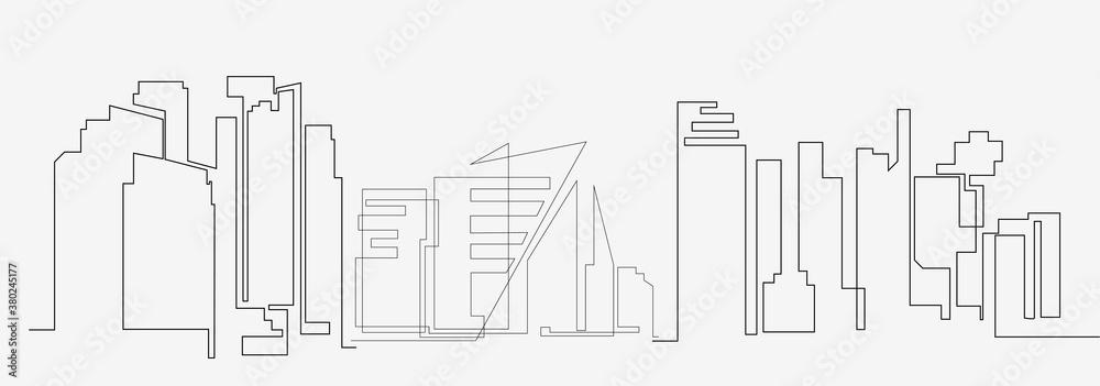 Fototapeta City landscapes line vector illustration