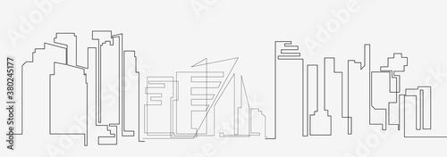 Fototapeta City landscapes line vector illustration obraz