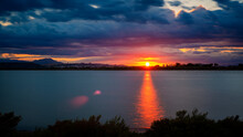 Sunset Over The Pond On A Clou...