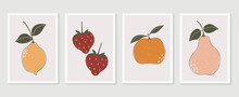 Fruit Wall Art Vector Set. Foliage Line Art Drawing With  Abstract Shape.  Abstract Plant Art Design For Print, Cover, Wallpaper, Minimal And  Natural Wall Art.