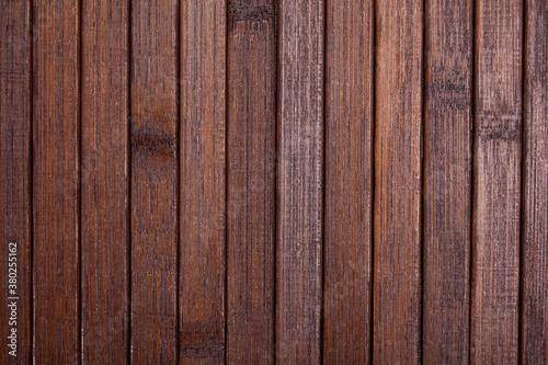 Fototapeta Natural dark brown wooden background, top view of wood planks backdrop obraz na płótnie