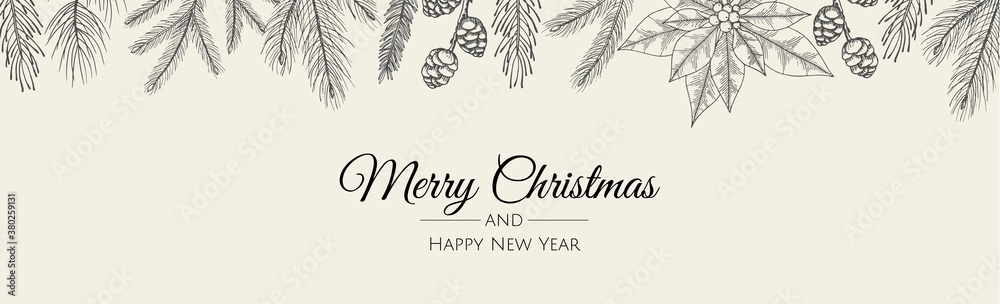 Fototapeta Merry Christmas web banner. Background for invitation or seasons greeting.