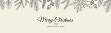 Merry Christmas Web Banner. Background For Invitation Or Seasons Greeting.