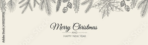 Obraz Merry Christmas web banner. Background for invitation or seasons greeting. - fototapety do salonu