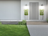 New house with gray door and empty white wall. 3d rendering of green grass lawn in modern home.