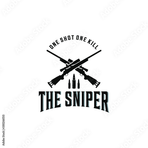 Fotografie, Obraz sniper logo complete with sniper weapon that looks blurry and has the best accur