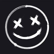 Vector Illustration Scary Grunge Smile Face. Halloween Sticker.