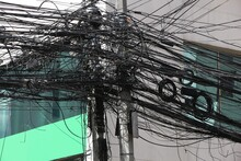 City Cable Mess In Manila, Philippines