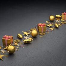 Flat Lay Golden Christmas Orna...