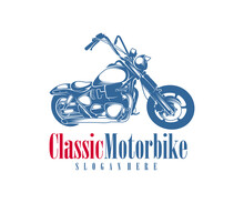 Motorcycle Monochrome Emblems, Logo And Motorbike Badges With Descriptions Of Custom Bikes, Classic Garage. Vector Illustration