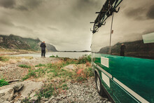 Sea Coast And Camper Car, Lofoten Island Norway