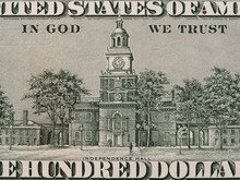 Independence Hall On The Us One Hundred Dollar Bill Macro, United States Money Closeup
