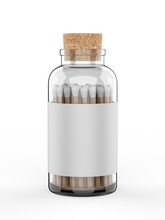 Blank Wooden Safety Matches Stick In Glass Bottle For Branding And Mock Up. 3d Render Illustration.