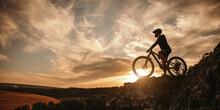 Man On Mountain Bike Against S...