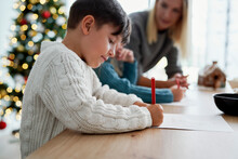 Children Writing A Letter To Santa Claus