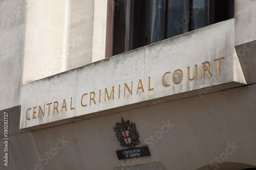 London, UK, October 6, 2012 : Central Criminal Court entrance sign which is known as the Old Bailey where a those accused of a serious crime receives justice stock photo