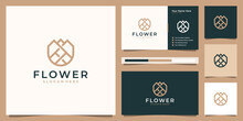 Beauty Flower Minimalist Line Art Style. Elegant Logo Can Be Used Beauty Spa, Salon, Cosmetic, Skin Care. Logo Design And Business Card.