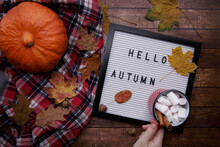 Children Hand Holds A Mug Of Cocoa With Marshmallows Over The Table With Pumpkin.there Is A Board On The Table With The Inscription Checkered Shirt And Pumpkin.selective Focus
