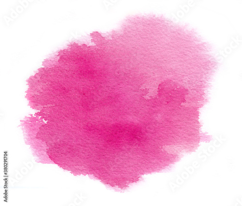 Photo Bright magenta watercolor stain with water colour paint stroke