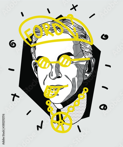 Платно Creative geometric yellow style. Henry Ford.