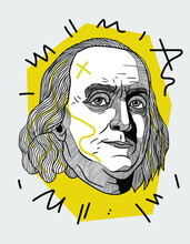 Creative Geometric Yellow Style. Benjamin Franklin.