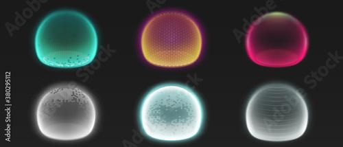 Force shield bubbles, various energy glow spheres Wallpaper Mural