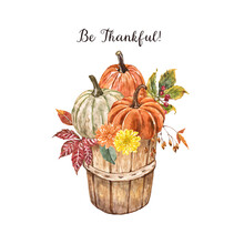Watercolor Pumpkins And Flowers In A Garden Wooden Basket, Isolated On White Background. Hand Painted Fall Gourds With Leaves, Foliage In A Harvest Bushel. Festive Thanksgiving Day Illustration.