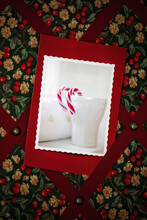 Diy: Christmas Card Made With A Photograph Hanging From Textile Card Holder