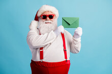 Portrait Of His He Nice Attractive Cheery Confident Overweight Thick White-haired Santa Holding In Hands Letter Wish List December Tradition Isolated Bright Vivid Shine Vibrant Blue Color Background