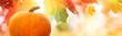 Thanksgiving pumpkin on autumn leaves background
