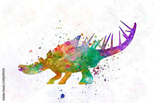 Fototapeta kentrosaurus Dinosaur in watercolor obraz
