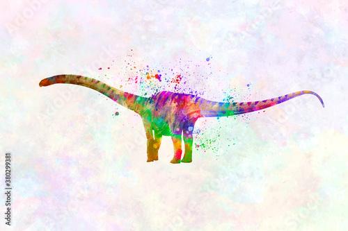 Fototapeta Mamenchisaurus  Dinosaur in watercolor obraz