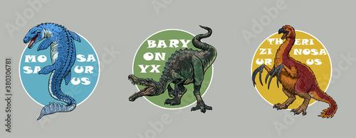 фотография Set of 3 dinosaurs logos