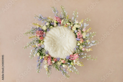 Newborn digital backdrop for baby with rose flowers Wallpaper Mural