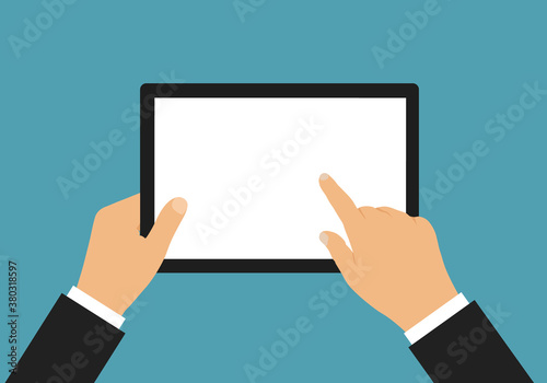 Fotografie, Obraz Flat design illustration of hand of businessman holding touch screen tablet with