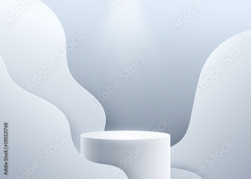 Photo 3d podium vector background with spotlight light from above and pastel blue wave shapes