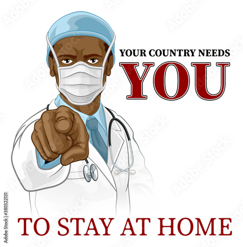 Photo A doctor in PPE mask pointing in a your country needs or wants you gesture