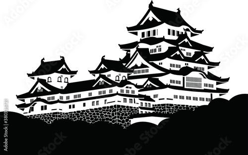 Fototapeta 姫路城・天守・シルエット