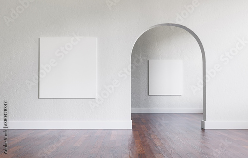 Tableau sur Toile Big, empty interior with large mock-up canvases and circular arc entrance to another space