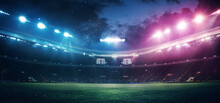 Full Stadium And Neoned Colorful Flashlights Background. Flyer With Copyspace In Modern Colors. Concept Of Sport, Competition, Winning, Action And Motion. Empty Area For Championships, Your Ad, Design